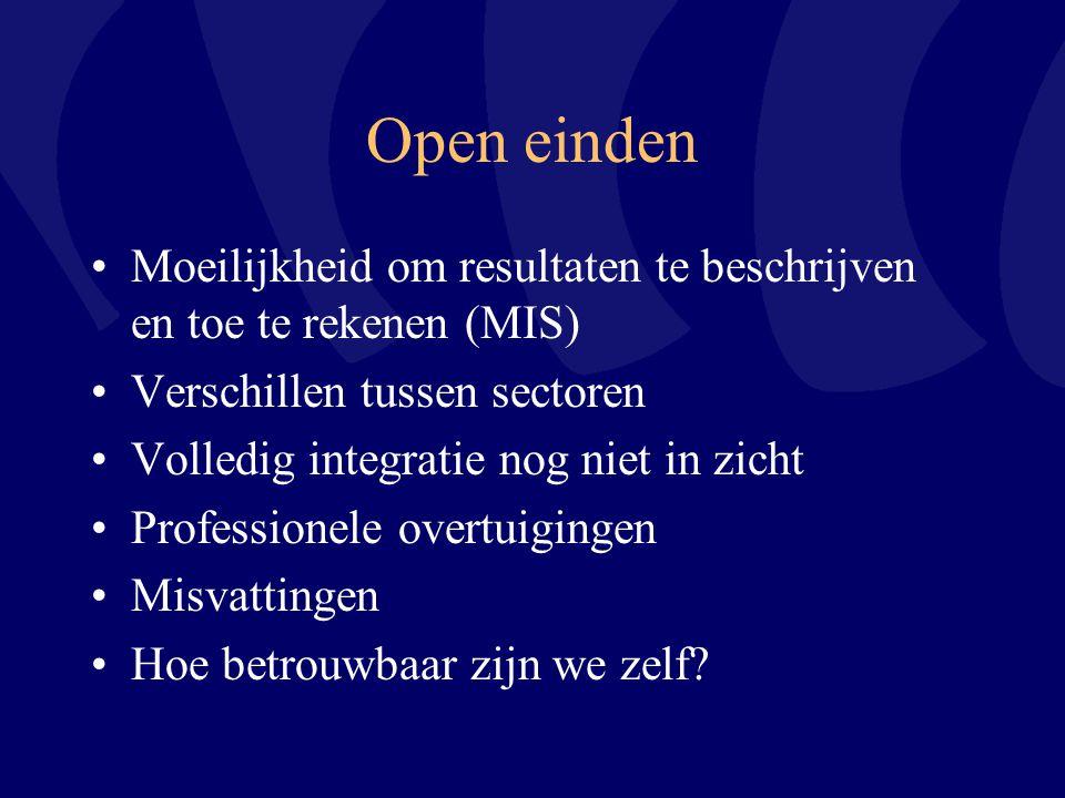 Open einden Moeilijkheid om resultaten te beschrijven en toe te rekenen (MIS) Verschillen tussen sectoren Volledig integratie nog niet in zicht Profes