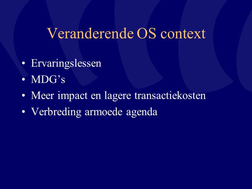 Veranderende OS context Ervaringslessen MDG's Meer impact en lagere transactiekosten Verbreding armoede agenda