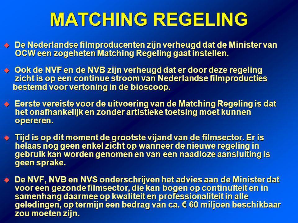 MATCHING REGELING  De Nederlandse filmproducenten zijn verheugd dat de Minister van OCW een zogeheten Matching Regeling gaat instellen.