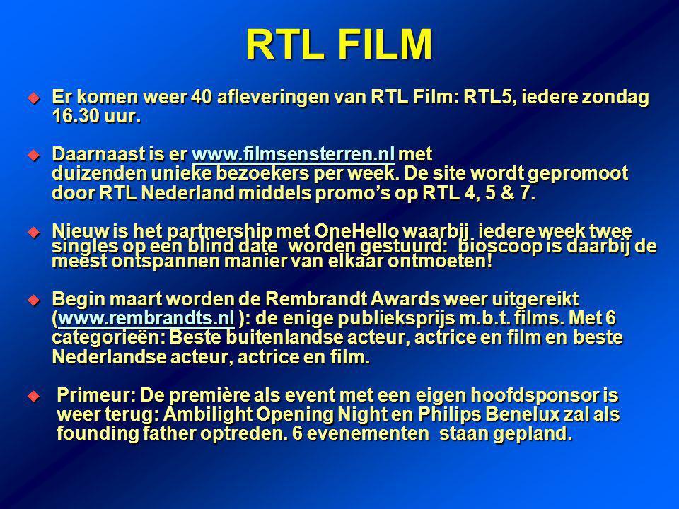 RTL FILM  Er komen weer 40 afleveringen van RTL Film: RTL5, iedere zondag 16.30 uur.