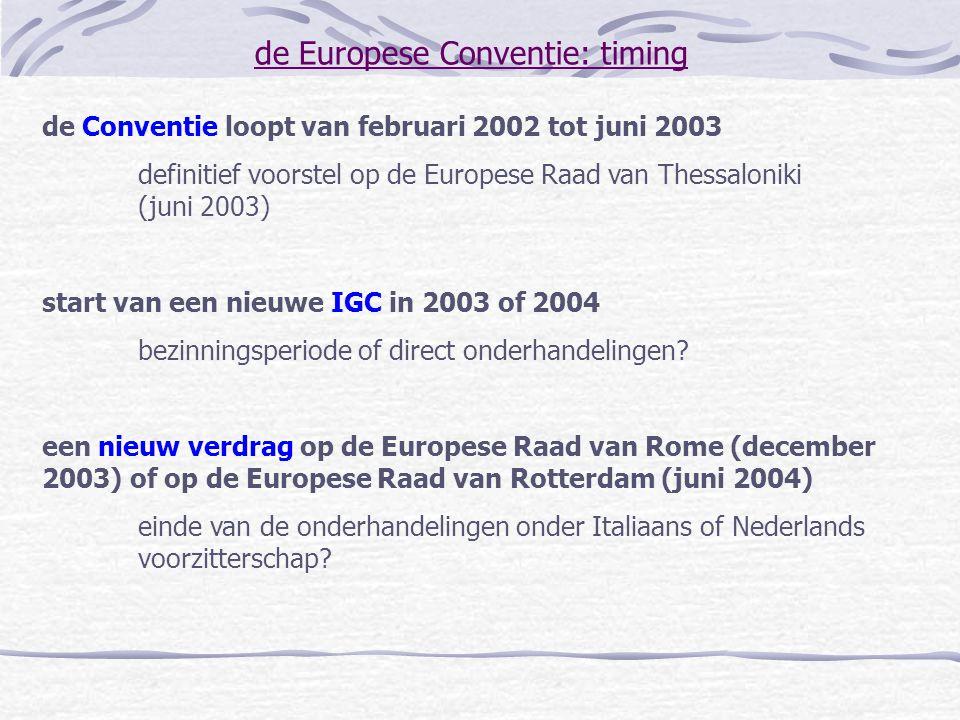 de Europese Conventie: timing de Conventie loopt van februari 2002 tot juni 2003 definitief voorstel op de Europese Raad van Thessaloniki (juni 2003)