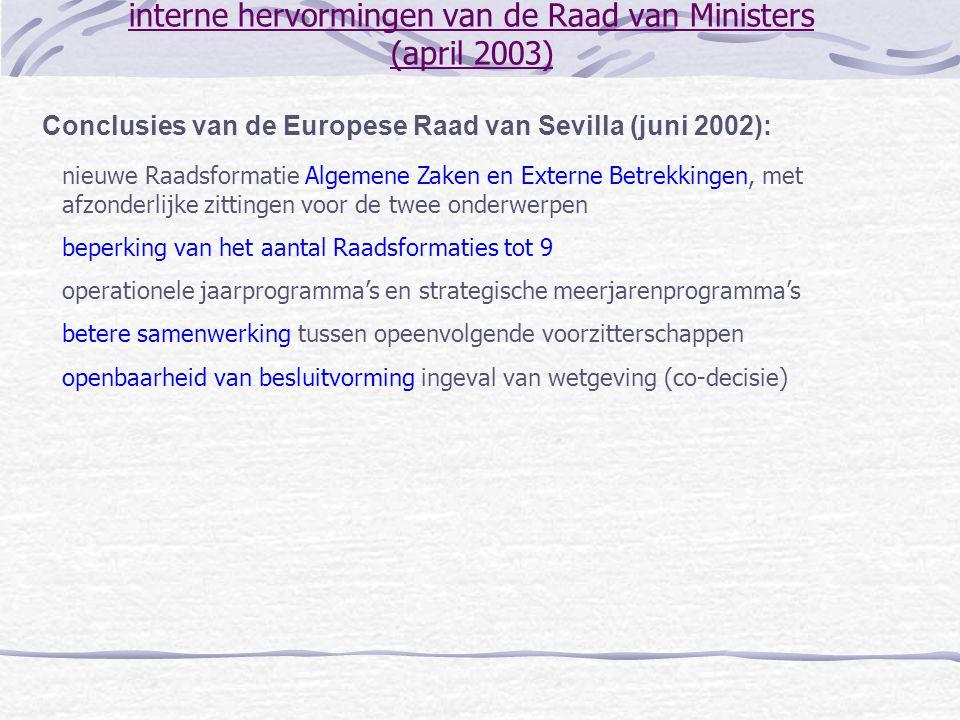 interne hervormingen van de Raad van Ministers (april 2003) Conclusies van de Europese Raad van Sevilla (juni 2002): nieuwe Raadsformatie Algemene Zak