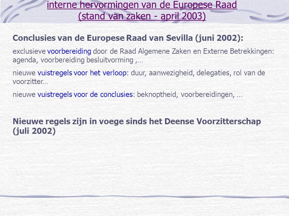 interne hervormingen van de Europese Raad (stand van zaken - april 2003) Conclusies van de Europese Raad van Sevilla (juni 2002): exclusieve voorberei