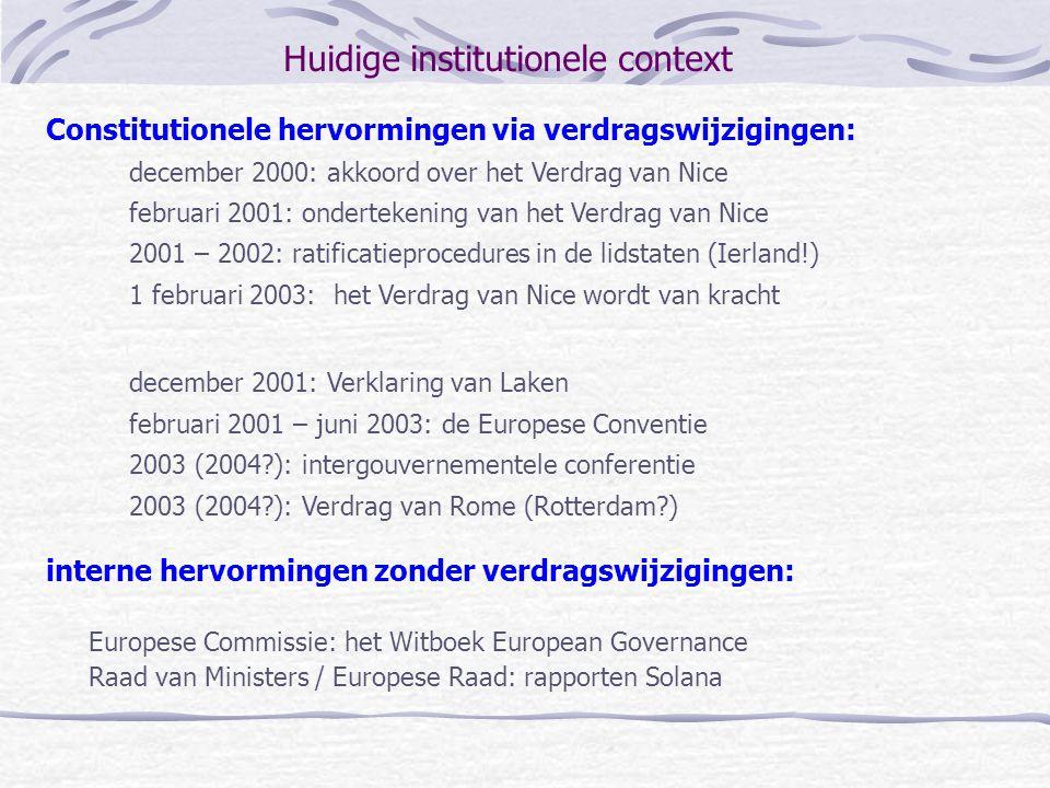 de Conventie Samenstelling: lidstaten (15), nationale parlementen (15x2), Europees Parlement (16), Commissie (2), de kandidaat-lidstaten (13), de parlementen van de kandidaat-lidstaten (13x2) Waarnemers: Economisch en Sociaal Comité (3), Europese sociale partners (3), Comité van de Regio's (6) en de Europese Ombudsman Voorzitter: Giscard d'Estaing; Ondervoorzitters Amato en Dehaene Presidium: voorzitter en ondervoorzitters plus negen leden Secretariaat: wordt verzorgd door het secretariaat-generaal van de Raad