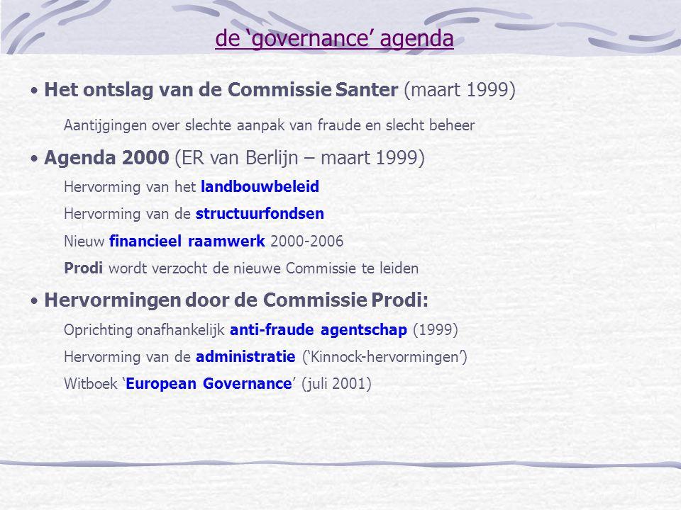 de 'governance' agenda Het ontslag van de Commissie Santer (maart 1999) Aantijgingen over slechte aanpak van fraude en slecht beheer Agenda 2000 (ER v
