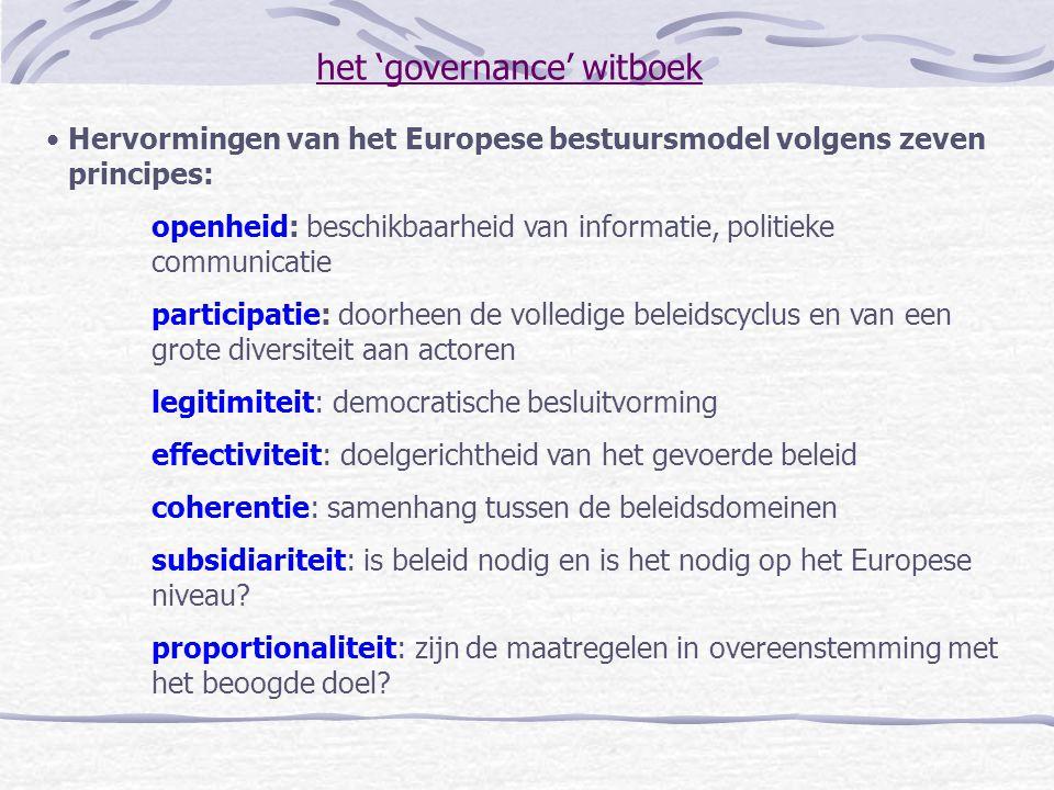 het 'governance' witboek Hervormingen van het Europese bestuursmodel volgens zeven principes: openheid: beschikbaarheid van informatie, politieke comm