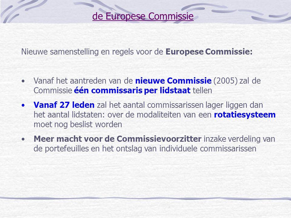 de Europese Commissie Nieuwe samenstelling en regels voor de Europese Commissie: Vanaf het aantreden van de nieuwe Commissie (2005) zal de Commissie é