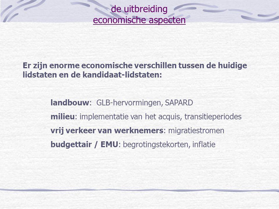 de uitbreiding economische aspecten Er zijn enorme economische verschillen tussen de huidige lidstaten en de kandidaat-lidstaten: landbouw: GLB-hervor