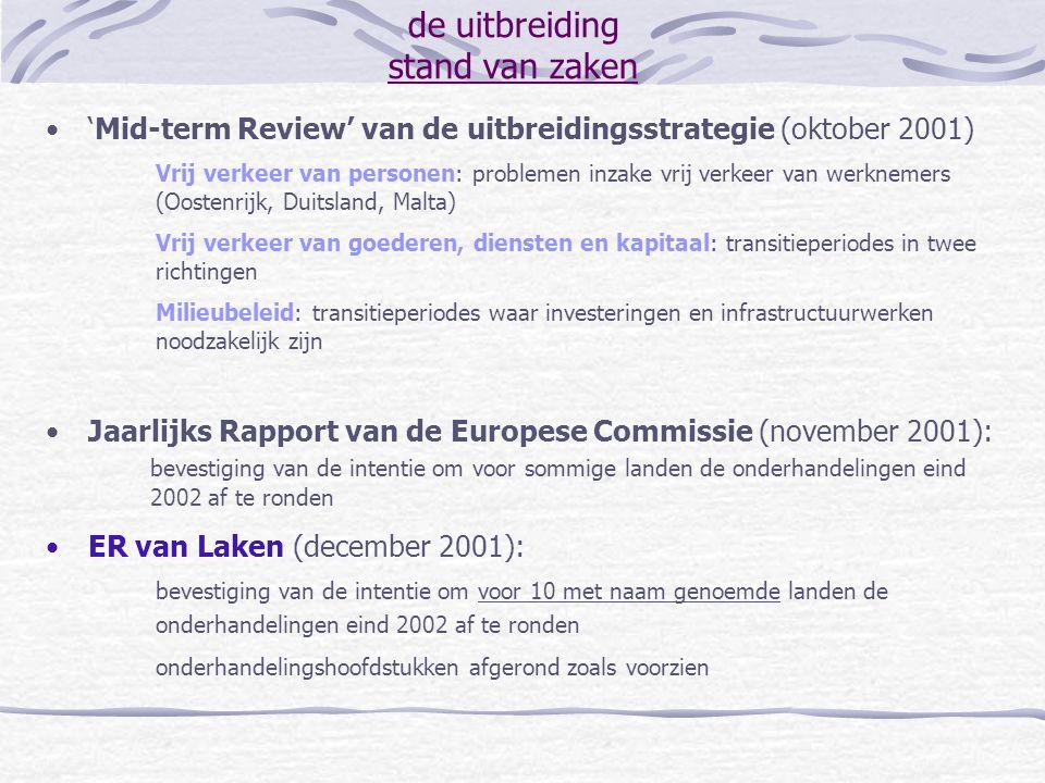 de uitbreiding stand van zaken 'Mid-term Review' van de uitbreidingsstrategie (oktober 2001) Vrij verkeer van personen: problemen inzake vrij verkeer