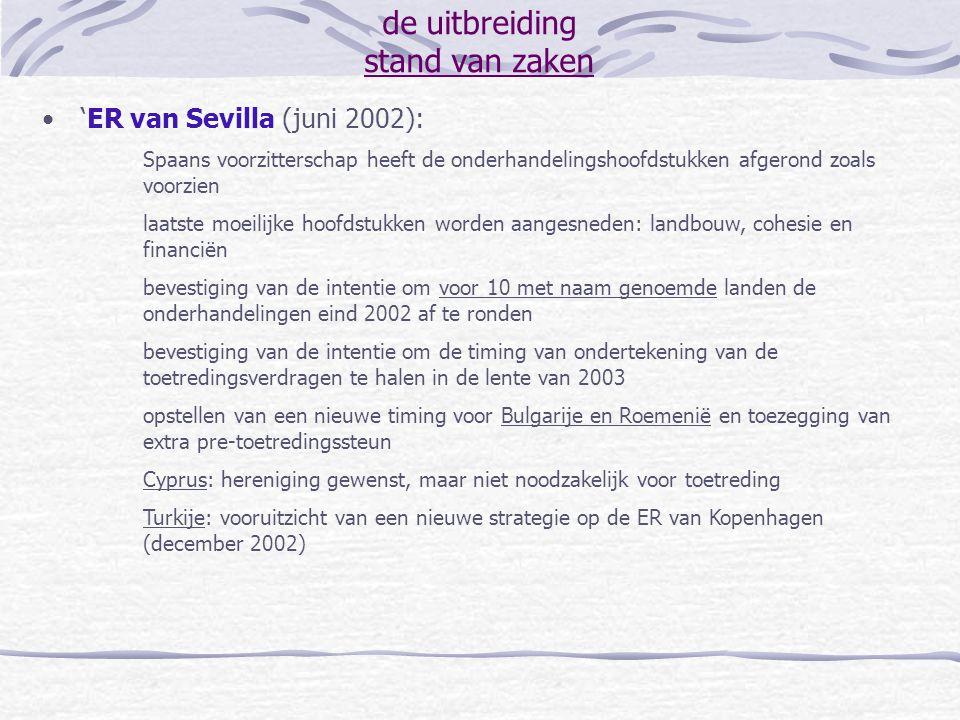 de uitbreiding stand van zaken 'ER van Sevilla (juni 2002): Spaans voorzitterschap heeft de onderhandelingshoofdstukken afgerond zoals voorzien laatst