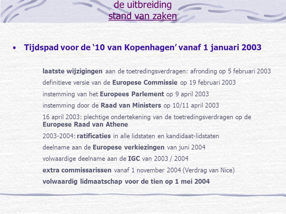 de uitbreiding stand van zaken Tijdspad voor de '10 van Kopenhagen' vanaf 1 januari 2003 laatste wijzigingen aan de toetredingsverdragen: afronding op