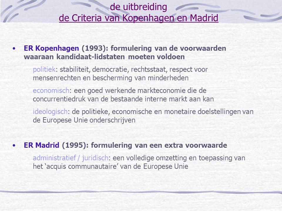 de uitbreiding de Criteria van Kopenhagen en Madrid ER Kopenhagen (1993): formulering van de voorwaarden waaraan kandidaat-lidstaten moeten voldoen po