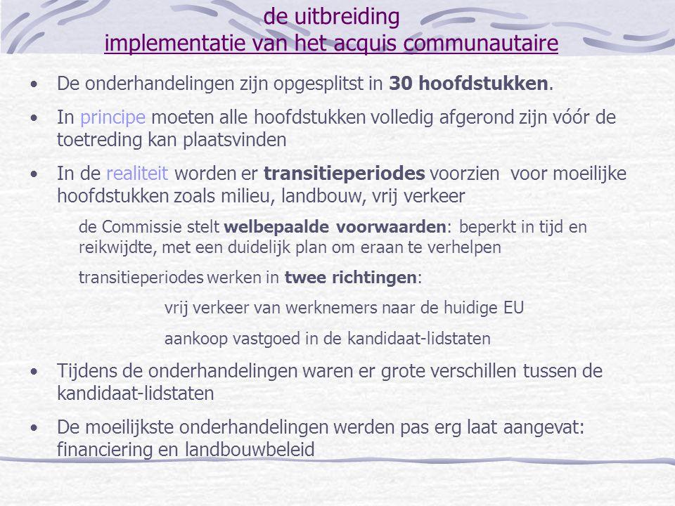 de uitbreiding stand van zaken 'ER van Brussel (oktober 2002): Bespreking van het jaarlijks rapport van de Europese Commissie dat opnieuw aanbeveelt om eind 2002 de onderhandelingen met de 10 genoemde landen af te ronden Bevestiging van de intentie om voor de 10 met naam genoemde landen de onderhandelingen af te ronden op de ER van Kopenhagen (december 2002) Bevestiging van de intentie om de timing van ondertekening van de toetredingsverdragen te halen in de lente van 2003 Akkoord over monitoring van de kandidaat-lidstaten tot op de dag dat ze daadwerkelijk zullen toetreden Akkoord over de het standpunt dat de 15 lidstaten zullen innemen bij de onderhandelingen van de laatste hoofdstukken: landbouw: 'phasing in' van directe inkomenssteun financiering: 'plafonnering' 'van de landbouwuitgaven vanaf 2007