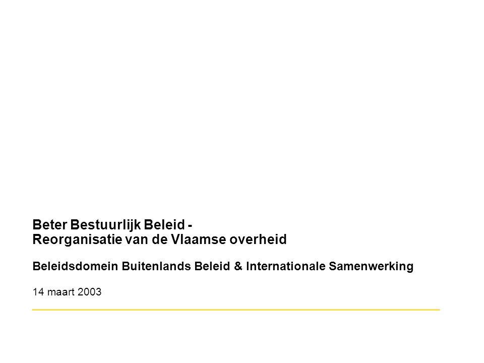 Beter Bestuurlijk Beleid - Reorganisatie van de Vlaamse overheid Beleidsdomein Buitenlands Beleid & Internationale Samenwerking 14 maart 2003 ________