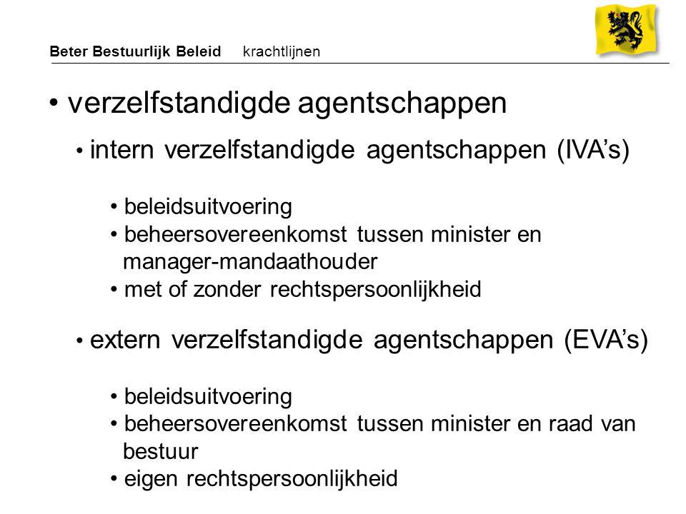 Beter Bestuurlijk Beleid krachtlijnen extern verzelfstandigde agentschappen (EVA's) beleidsuitvoering beheersovereenkomst tussen minister en raad van