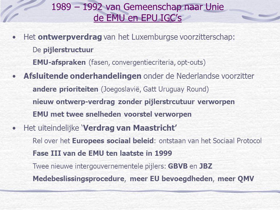 1989 – 1992 van Gemeenschap naar Unie de EMU en EPU IGC's Het ontwerpverdrag van het Luxemburgse voorzitterschap: De pijlerstructuur EMU-afspraken (fa