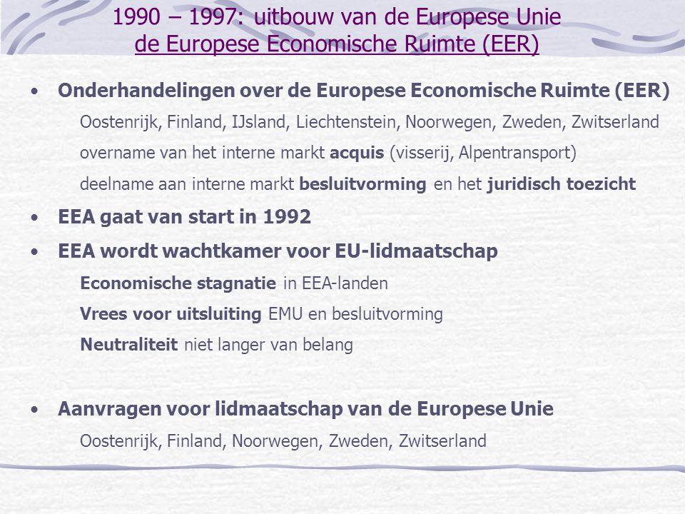 1990 – 1997: uitbouw van de Europese Unie de Europese Economische Ruimte (EER) Onderhandelingen over de Europese Economische Ruimte (EER) Oostenrijk,