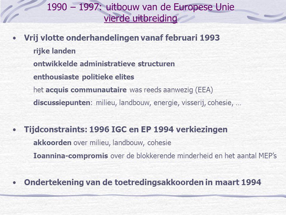 1990 – 1997: uitbouw van de Europese Unie vierde uitbreiding Vrij vlotte onderhandelingen vanaf februari 1993 rijke landen ontwikkelde administratieve structuren enthousiaste politieke elites het acquis communautaire was reeds aanwezig (EEA) discussiepunten: milieu, landbouw, energie, visserij, cohesie, … Tijdconstraints: 1996 IGC en EP 1994 verkiezingen akkoorden over milieu, landbouw, cohesie Ioannina-compromis over de blokkerende minderheid en het aantal MEP's Ondertekening van de toetredingsakkoorden in maart 1994