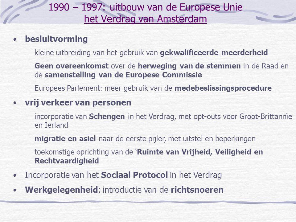 1990 – 1997: uitbouw van de Europese Unie het Verdrag van Amsterdam besluitvorming kleine uitbreiding van het gebruik van gekwalificeerde meerderheid