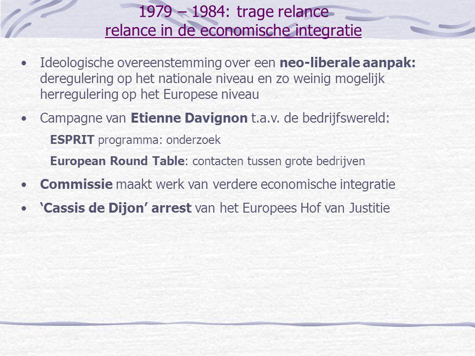 1979 – 1984: trage relance relance in de politieke integratie Talrijke dossiers die spanningen oproepen tussen de EEG en de VS … Gaspijplijn tussen de Soviet-Unie en West-Europa Plaatsing van Amerikaanse raketten in West-Europa Onenigheid over het conflict in het Midden-Oosten … nopen de EG tot meer politieke samenwerking: Genscher-Colombo initiatief: meer samenwerking op het vlak van het buitenlands beleid ('Draft European Act' - 1981) 'Plechtige Verklaring over de Europese Unie' (Stuttgart - 1984) Europarlementsleden vormen de 'Crocodile Club' installatie van een commissie institutionele zaken in het EP EP: 'Draft Establishing the European Union'