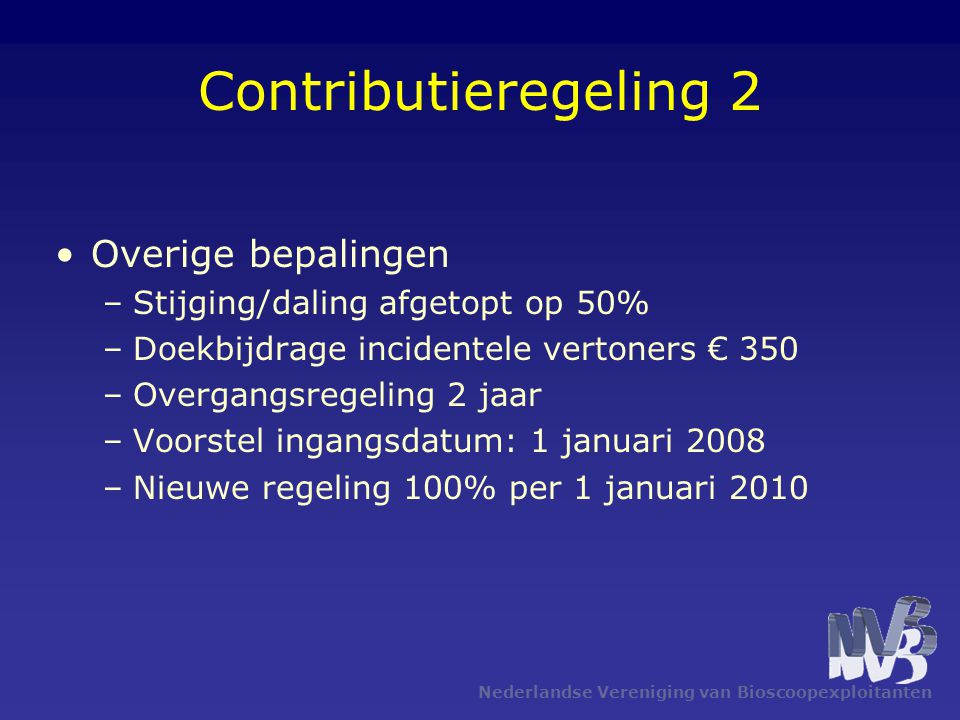 Contributieregeling 2 Overige bepalingen –Stijging/daling afgetopt op 50% –Doekbijdrage incidentele vertoners € 350 –Overgangsregeling 2 jaar –Voorste