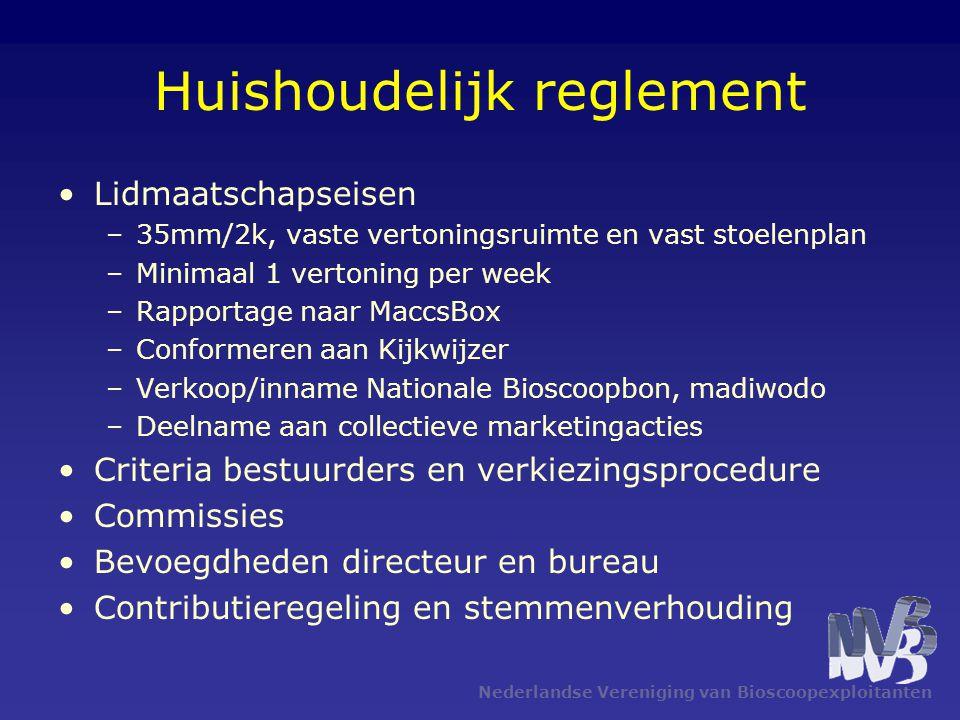 Huishoudelijk reglement Lidmaatschapseisen –35mm/2k, vaste vertoningsruimte en vast stoelenplan –Minimaal 1 vertoning per week –Rapportage naar MaccsB