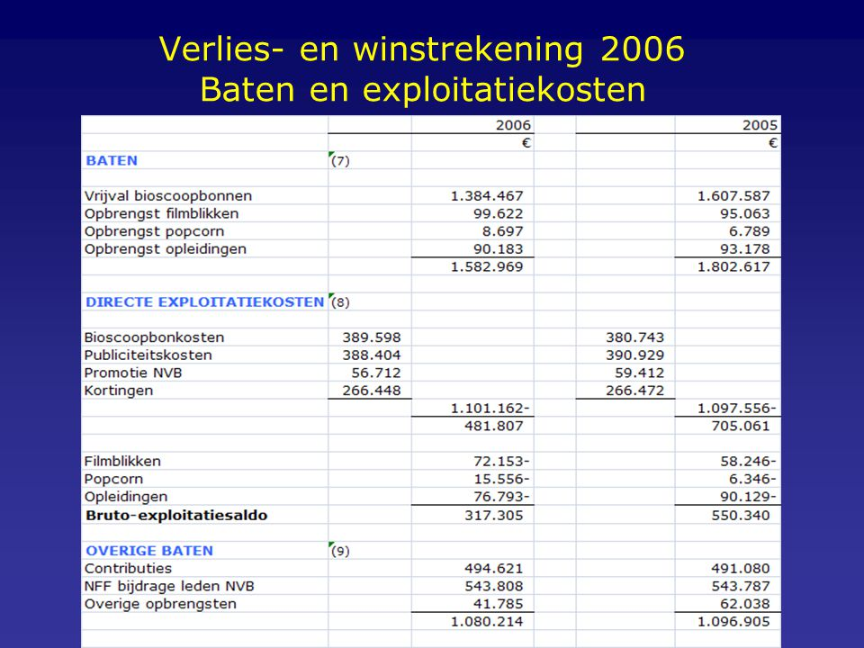 Verlies- en winstrekening 2006 Baten en exploitatiekosten