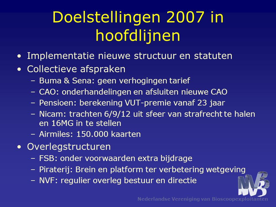 Doelstellingen 2007 in hoofdlijnen Implementatie nieuwe structuur en statuten Collectieve afspraken –Buma & Sena: geen verhogingen tarief –CAO: onderh