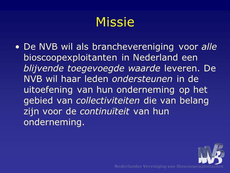 Missie De NVB wil als branchevereniging voor alle bioscoopexploitanten in Nederland een blijvende toegevoegde waarde leveren. De NVB wil haar leden on