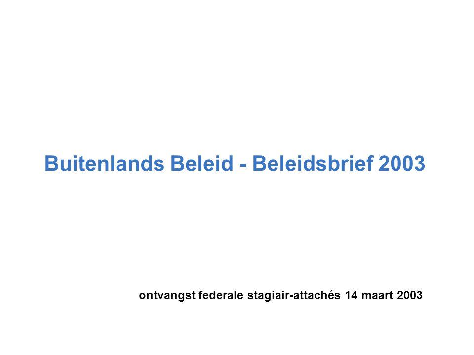 Buitenlands Beleid - Beleidsbrief 2003 ontvangst federale stagiair-attachés 14 maart 2003