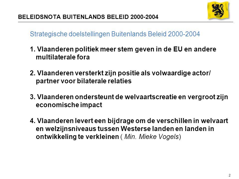 2 BELEIDSNOTA BUITENLANDS BELEID 2000-2004 Strategische doelstellingen Buitenlands Beleid 2000-2004 1. Vlaanderen politiek meer stem geven in de EU en