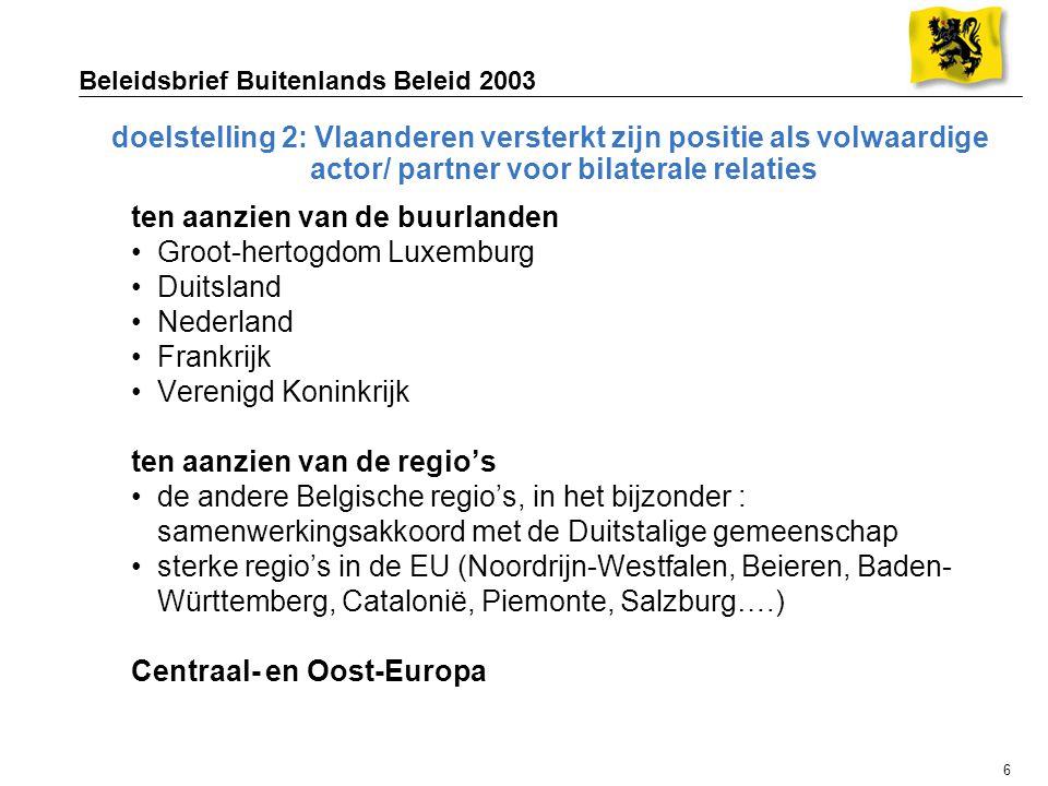 6 Beleidsbrief Buitenlands Beleid 2003 doelstelling 2: Vlaanderen versterkt zijn positie als volwaardige actor/ partner voor bilaterale relaties ten aanzien van de buurlanden Groot-hertogdom Luxemburg Duitsland Nederland Frankrijk Verenigd Koninkrijk ten aanzien van de regio's de andere Belgische regio's, in het bijzonder : samenwerkingsakkoord met de Duitstalige gemeenschap sterke regio's in de EU (Noordrijn-Westfalen, Beieren, Baden- Württemberg, Catalonië, Piemonte, Salzburg….) Centraal- en Oost-Europa