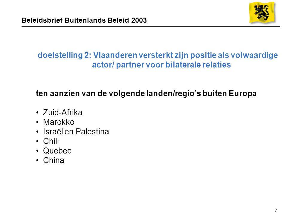 7 Beleidsbrief Buitenlands Beleid 2003 doelstelling 2: Vlaanderen versterkt zijn positie als volwaardige actor/ partner voor bilaterale relaties ten aanzien van de volgende landen/regio's buiten Europa Zuid-Afrika Marokko Israël en Palestina Chili Quebec China