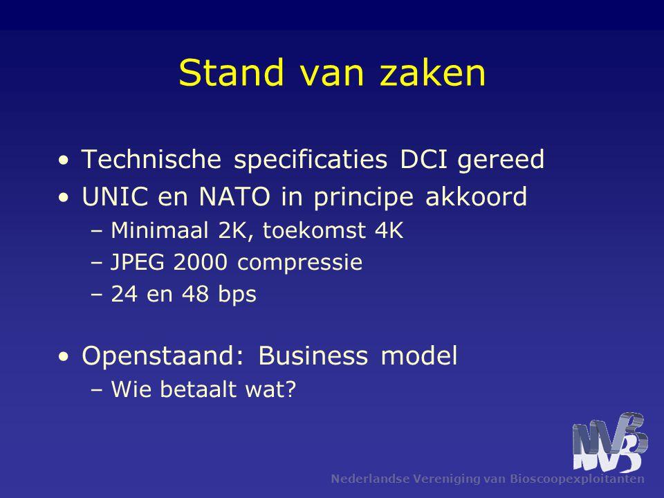 Nederlandse Vereniging van Bioscoopexploitanten Stand van zaken Technische specificaties DCI gereed UNIC en NATO in principe akkoord –Minimaal 2K, toe
