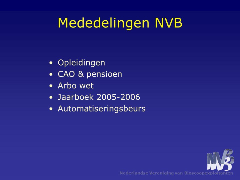 Nederlandse Vereniging van Bioscoopexploitanten Mededelingen NVB Opleidingen CAO & pensioen Arbo wet Jaarboek 2005-2006 Automatiseringsbeurs