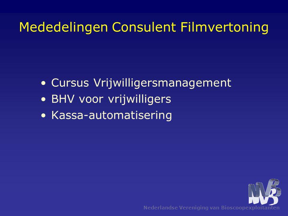 Nederlandse Vereniging van Bioscoopexploitanten Mededelingen Consulent Filmvertoning Cursus Vrijwilligersmanagement BHV voor vrijwilligers Kassa-autom