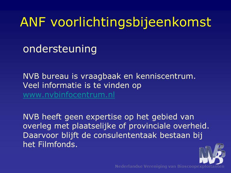 Nederlandse Vereniging van Bioscoopexploitanten ANF voorlichtingsbijeenkomst ondersteuning NVB bureau is vraagbaak en kenniscentrum. Veel informatie i