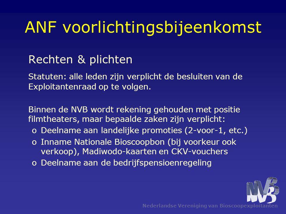 Nederlandse Vereniging van Bioscoopexploitanten ANF voorlichtingsbijeenkomst Rechten & plichten Statuten: alle leden zijn verplicht de besluiten van d