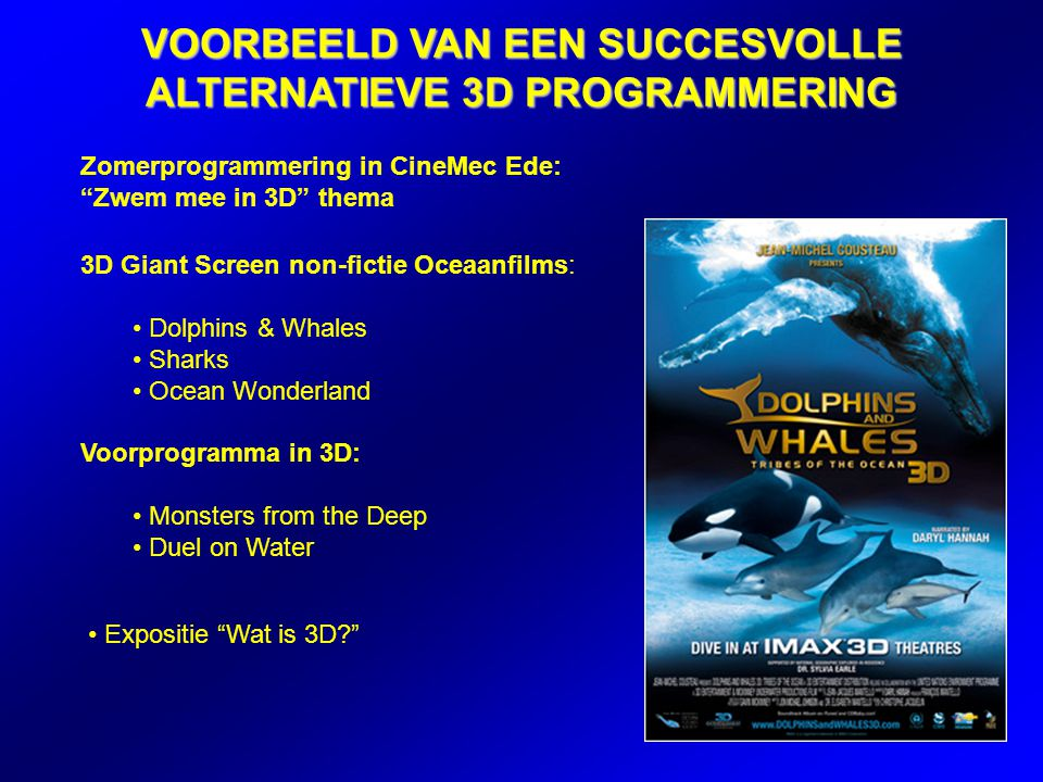Zomerprogrammering in CineMec Ede: Zwem mee in 3D thema VOORBEELD VAN EEN SUCCESVOLLE ALTERNATIEVE 3D PROGRAMMERING 3D Giant Screen non-fictie Oceaanfilms: Dolphins & Whales Sharks Ocean Wonderland Voorprogramma in 3D: Monsters from the Deep Duel on Water Expositie Wat is 3D