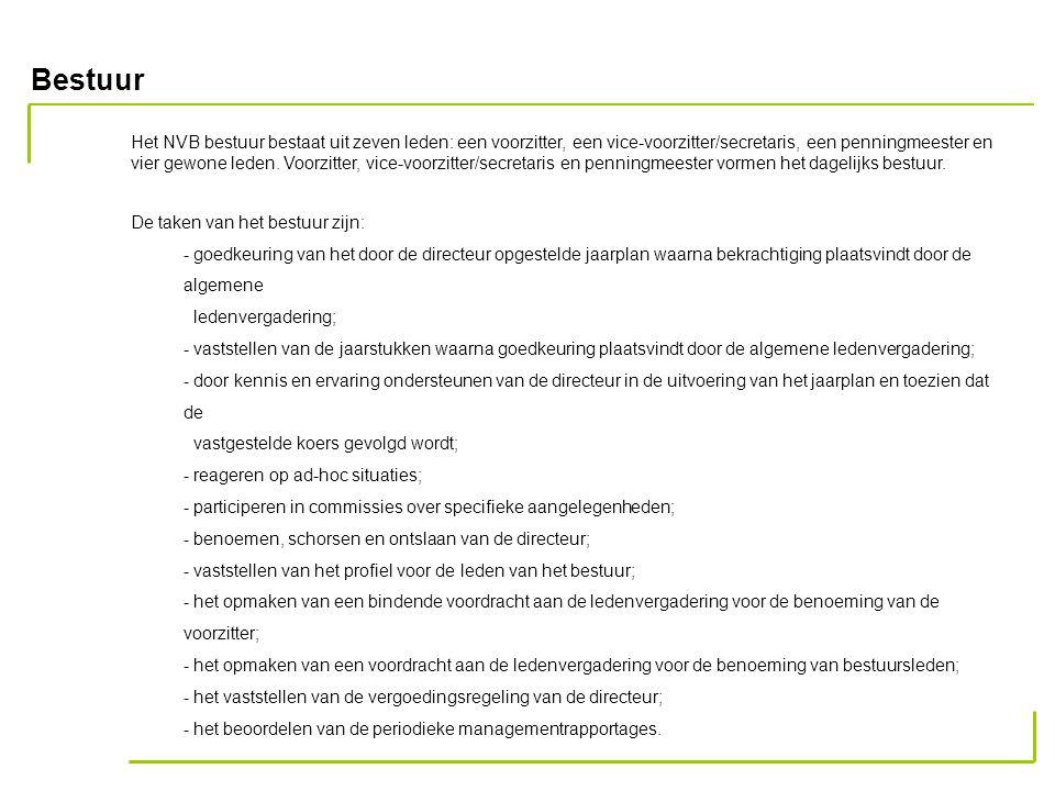 Bestuur Het NVB bestuur bestaat uit zeven leden: een voorzitter, een vice-voorzitter/secretaris, een penningmeester en vier gewone leden.