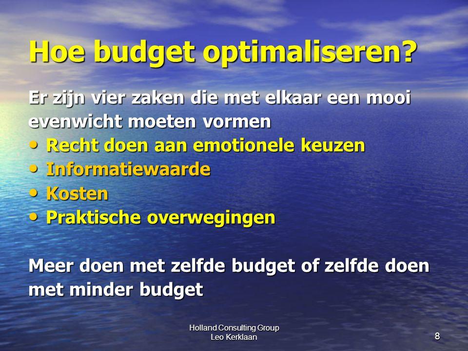 Holland Consulting Group Leo Kerklaan 8 Hoe budget optimaliseren.