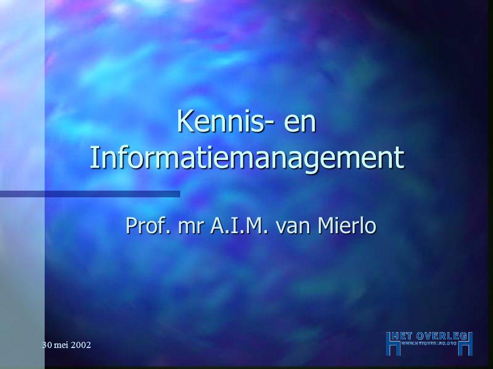30 mei 2002 Uitgangspunt n Kennis n Informatie Wetenschappelijk Bureau
