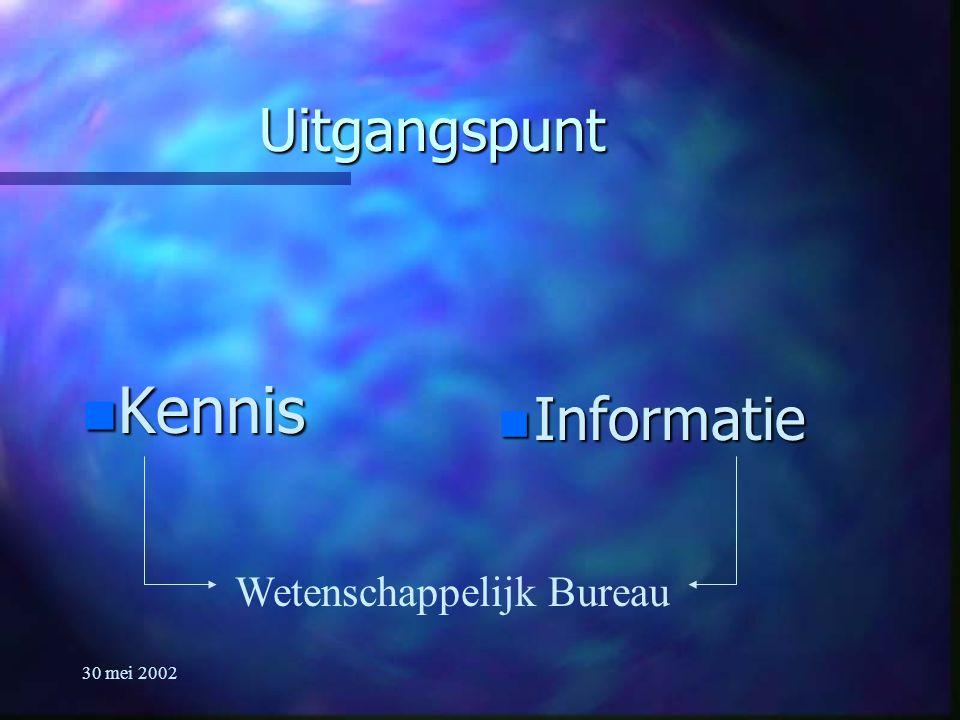 30 mei 2002 Wetenschappelijk Bureau DBBW Kennis & Informatie Management OnderzoekOnderwijs ICAPSL Mod.