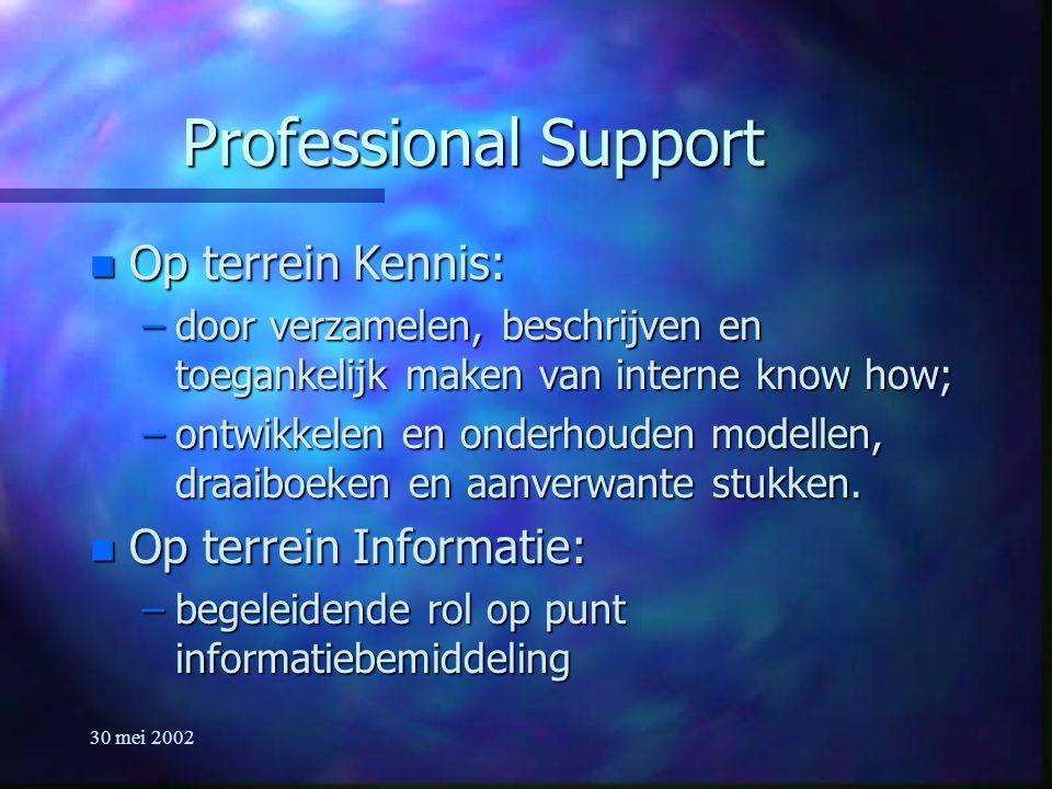 30 mei 2002 Professional Support n Op terrein Kennis: –door verzamelen, beschrijven en toegankelijk maken van interne know how; –ontwikkelen en onderhouden modellen, draaiboeken en aanverwante stukken.