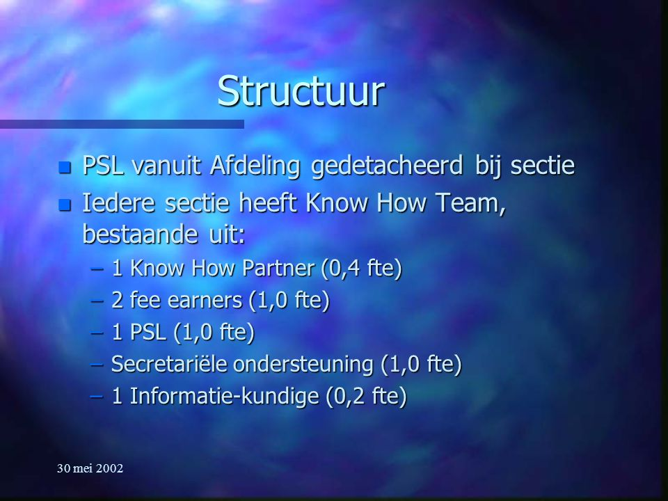 30 mei 2002 Structuur n PSL vanuit Afdeling gedetacheerd bij sectie n Iedere sectie heeft Know How Team, bestaande uit: –1 Know How Partner (0,4 fte) –2 fee earners (1,0 fte) –1 PSL (1,0 fte) –Secretariële ondersteuning (1,0 fte) –1 Informatie-kundige (0,2 fte)