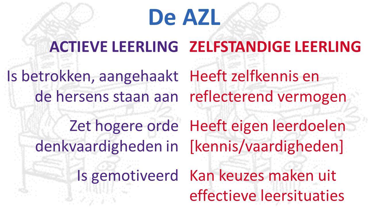 De AZL ACTIEVE LEERLING Is betrokken, aangehaakt de hersens staan aan Zet hogere orde denkvaardigheden in Is gemotiveerd ZELFSTANDIGE LEERLING Heeft z