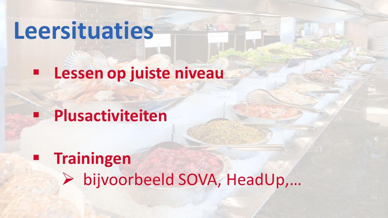 Leersituaties  Lessen op juiste niveau  Plusactiviteiten  Trainingen  bijvoorbeeld SOVA, HeadUp,…