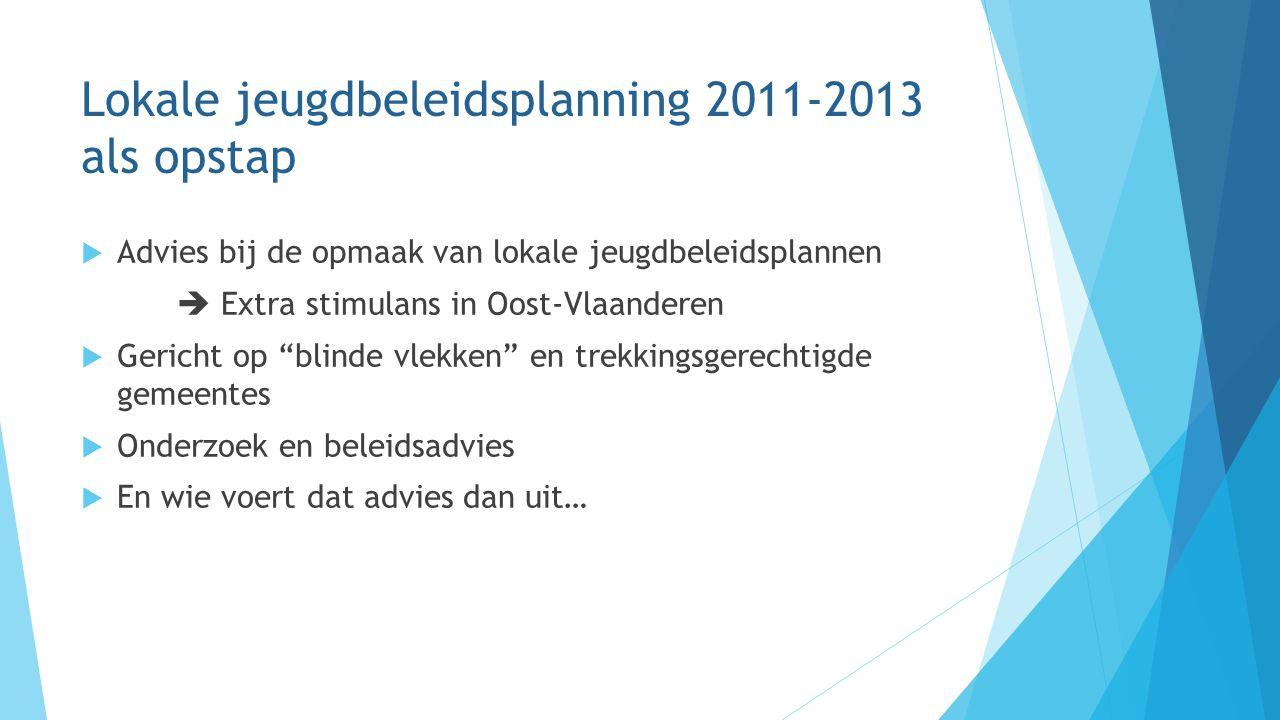 Lokale jeugdbeleidsplanning 2011-2013 als opstap  Advies bij de opmaak van lokale jeugdbeleidsplannen  Extra stimulans in Oost-Vlaanderen  Gericht