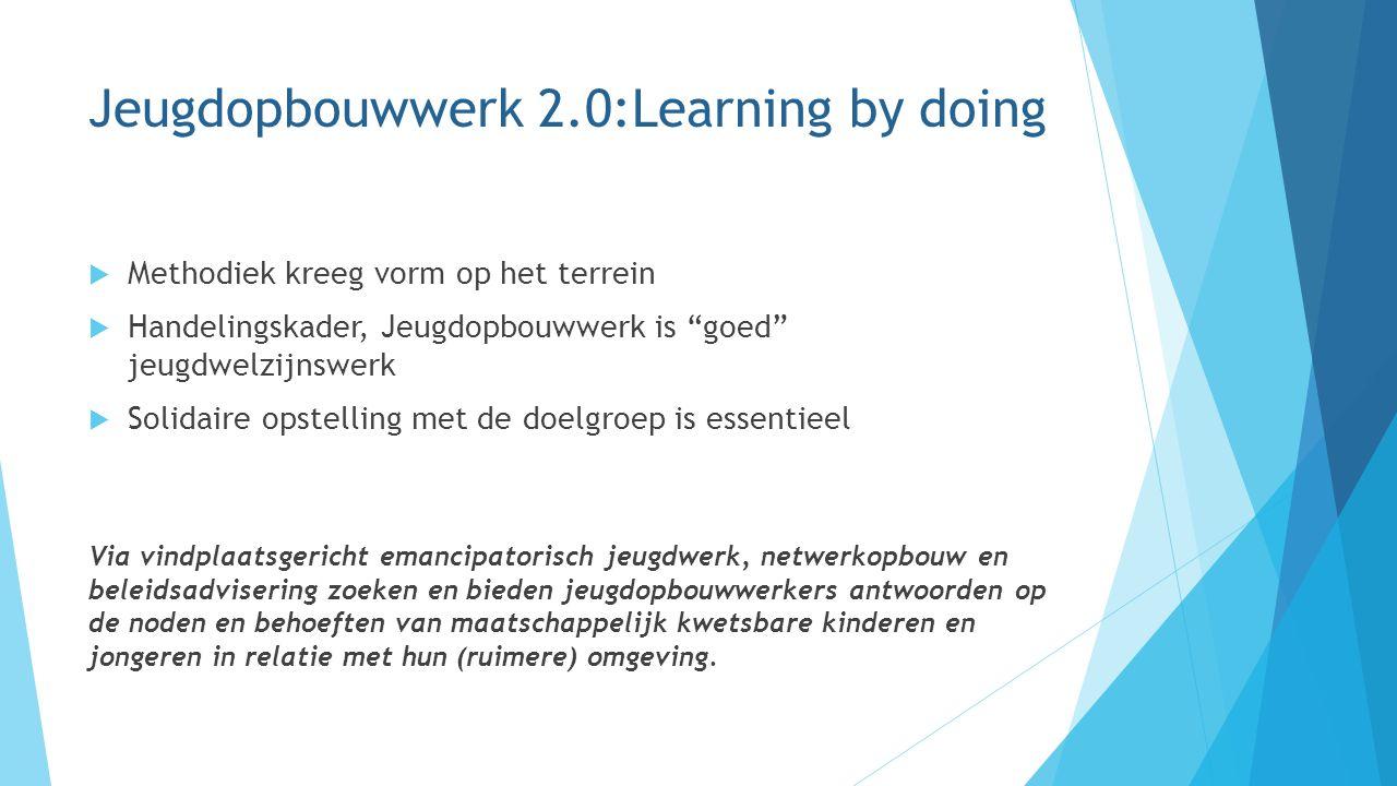 "Jeugdopbouwwerk 2.0:Learning by doing  Methodiek kreeg vorm op het terrein  Handelingskader, Jeugdopbouwwerk is ""goed"" jeugdwelzijnswerk  Solidaire"