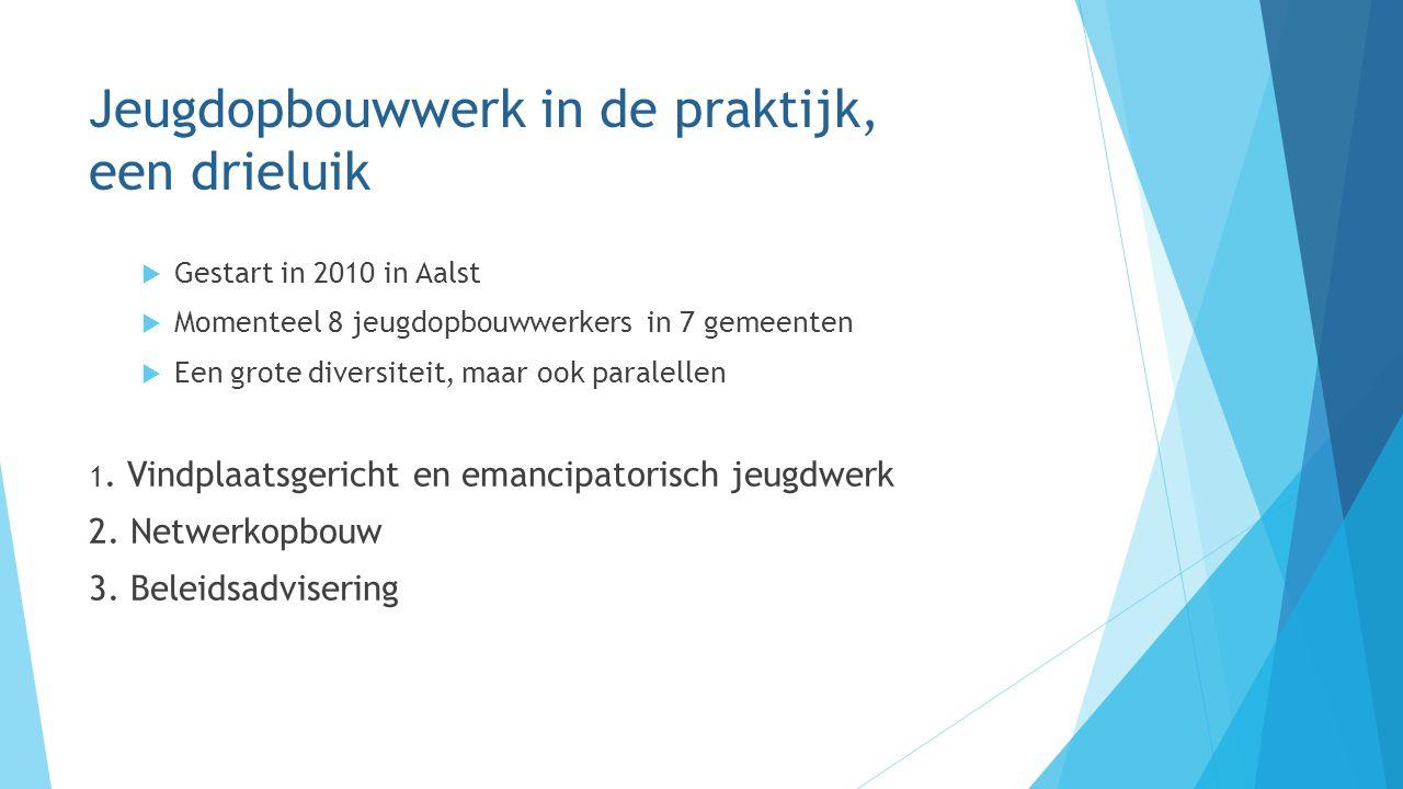 Jeugdopbouwwerk in de praktijk, een drieluik  Gestart in 2010 in Aalst  Momenteel 8 jeugdopbouwwerkers in 7 gemeenten  Een grote diversiteit, maar